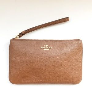 COACH Large Brown Pebbled Leather Wristlet